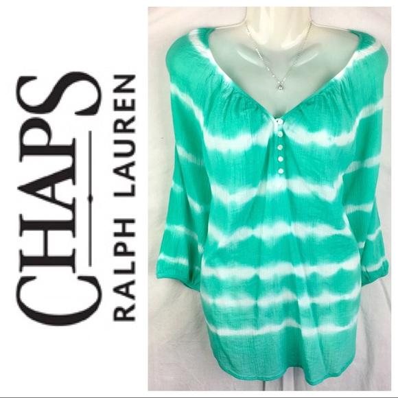 Chaps Tops - Ralph Lauren Chaps Green Tye Dye Peasant Top Small